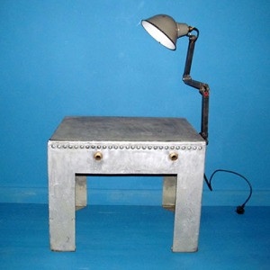 T007 Upcycled Water Tank Table & Lamp
