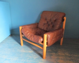 S018 70s Danish Leather Armchair
