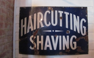 S022 Haircutting Shaving Blue Enamel Sign