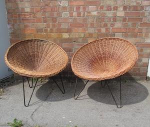 S019 60s Wicker Bucket Chairs Hairpin Legs
