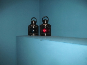L019 Pair Railway Lamps Coloured Glass