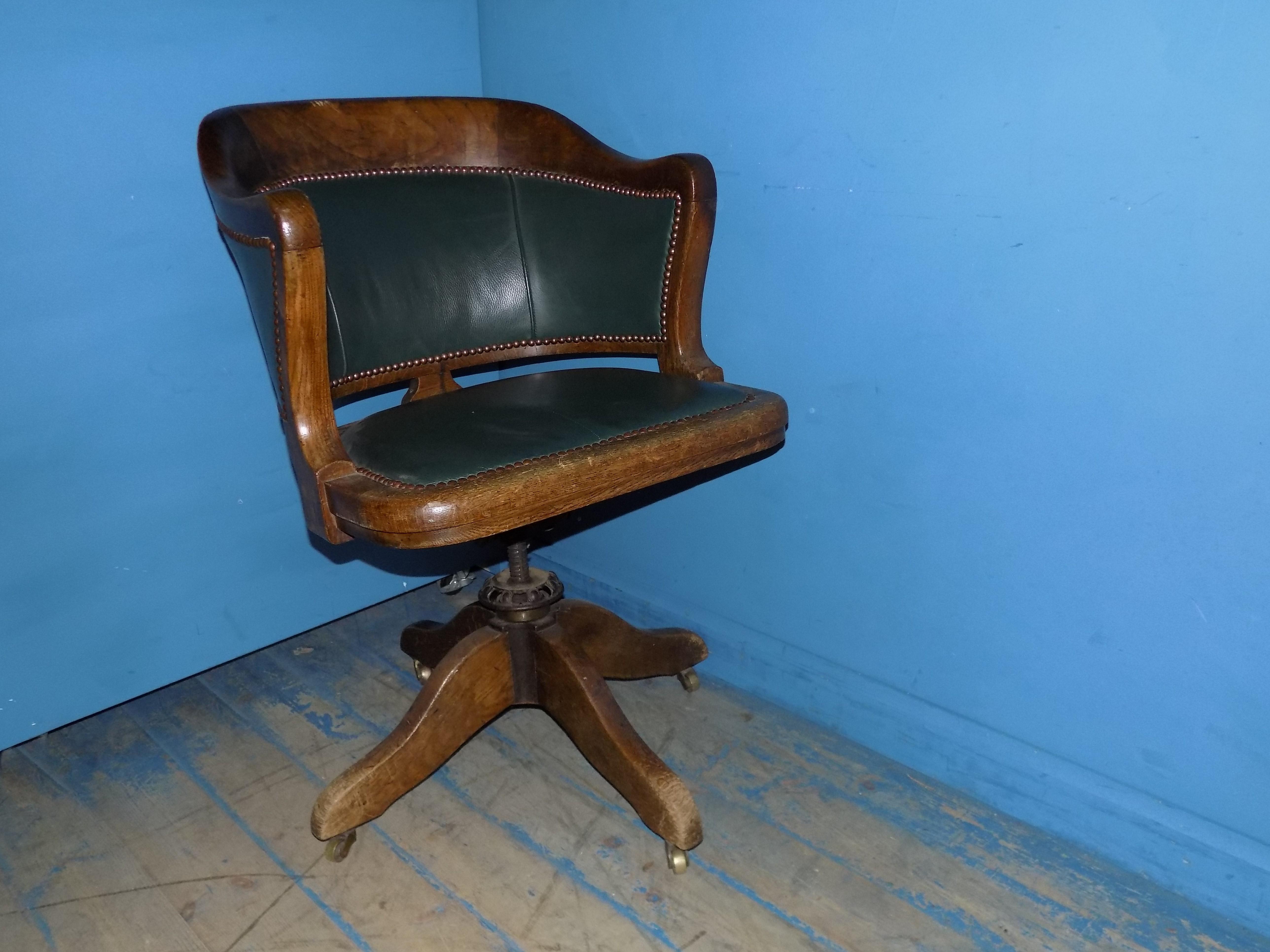 Oak U0026 Green Leather Swivel And Tilt Desk Chair SOLD